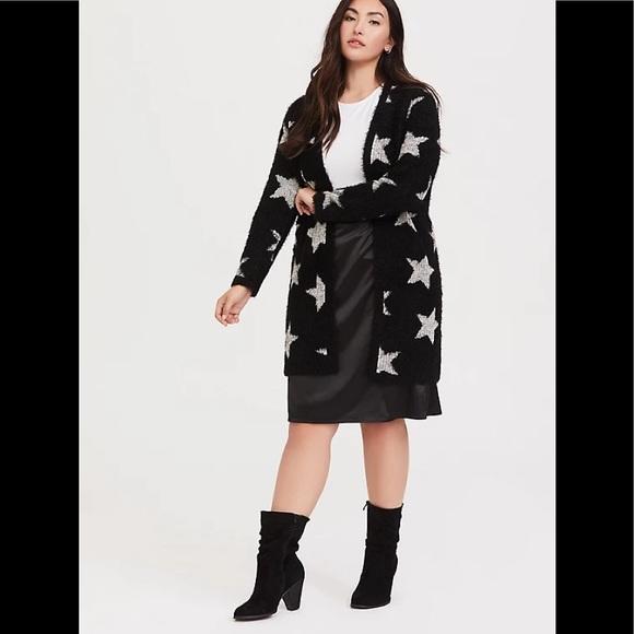 Torrid Black Star Sweater Coat